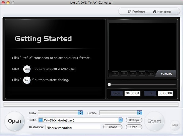iovSoft DVD to AVI Converter for Mac