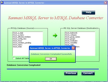 MS SQL to MySQL Database Converter Program