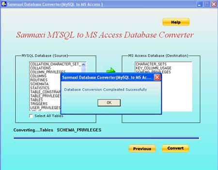 MYSQL to MS Access Database Conversion Software