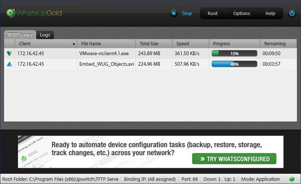 WhatsUp TFTP Server