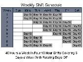 Screenshot of 10 Hour Schedules for 6 Days a Week
