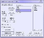 Screenshot of Mightymacros Multifind Excel Addin